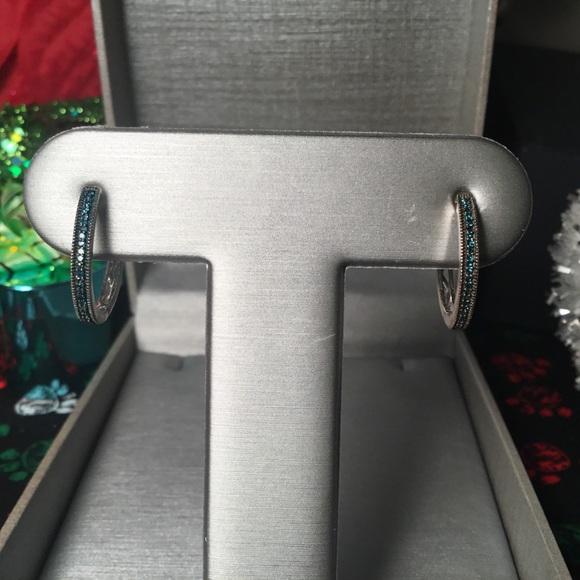 Jewelry - Beautiful Sterling Silver & Blue Diamond Earrings